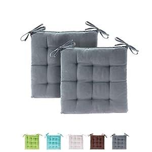 etérea Basic Sitzkissen, Stuhlkissen mit Bändern – für Innen- und Außenbereich geeignet, Sitzpolster Auflage für Haus und Garten – 2er Set – 40×40 cm, Bordeaux