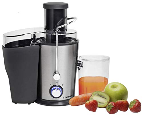 Bestron Entsafter mit Trester-/Saftbehälter, Für 550 ml Saft, 400 Watt, Edelstahl