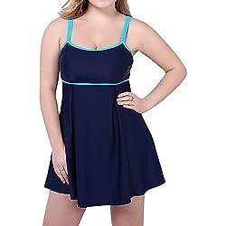 Mujer tallas grandes con falda traje de natación de una pieza ropa de baño azul