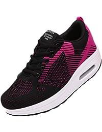529640bc061b Femme Chaussure de Basket Mode à Plateforme 5CM Coussin Bulle Chaussure de  Sport Courir Marcher Jogging