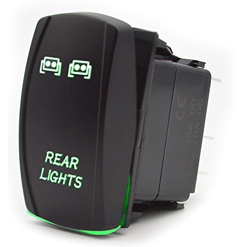 Interrupteur à bascule Commutateur de Tableau de bord 5 Broches ALLUMÉ ÉTEINT Pour l'éclairage Arrière de la Voiture 12V 20A 24V 10A Vert