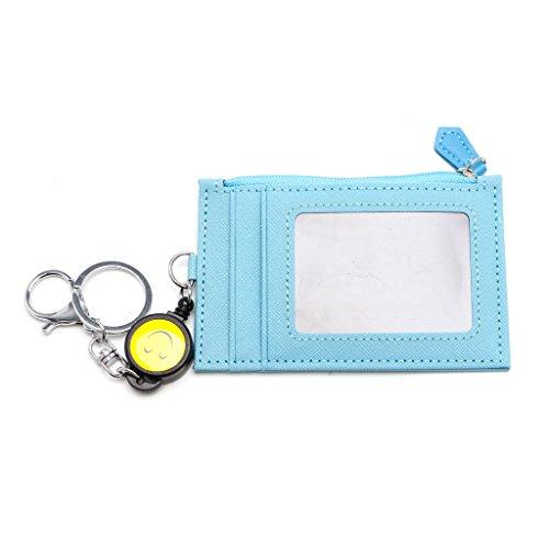 Jiamins Business Credit ID Abzeichen Kartenhalter Geldbörse Retractable Reel Keychain Geschenk (Himmelblau) -