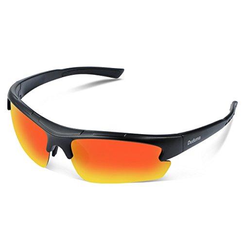 Duduma Polarisierter Sport Herren Sonnenbrille für Ski Fahren Golf Laufen Radsport Tr62 Superleichtes Rahmen Design für Herren und Damen (Schwarz Matt Rahmen mit Rot Spiegellinse)