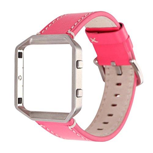Taottao solido colore cinturino in pelle cinturino da polso e telaio in metallo per Fitbit BLAZE Watch, hot pinK