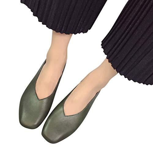 Tianwlio Frauen Herbst Winter Stiefel Schuhe Stiefeletten Boots Damen Mode Mittlere Absätze mit Flachem Mund Square Head Schuhe Arbeits Schuhe Grün 35