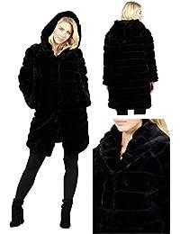 e2507656c28 Stella Morgan Faux Fur Layered Ruffled Black Hooded SNAP Fasten Coat Jacket