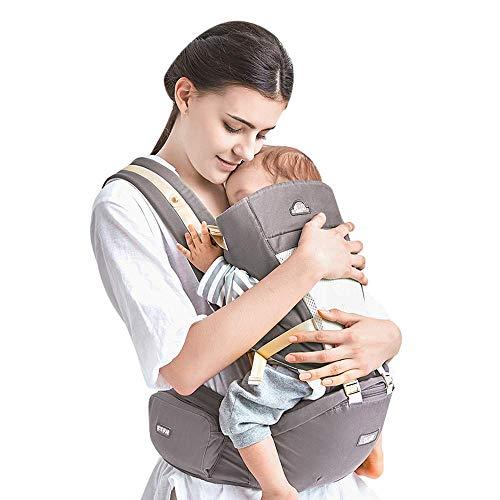 Kidsidol Porte-Bébé Dorsal 4 en 1 Porte-Bébé Ergonomique Porte-Bébé Ventral Kangourou Porte Bébé 4 Options de Positions Détachable et Comfortables Adaptés aux Bébés de 0-3 ans (gris)