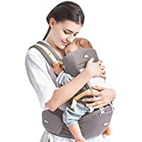 Kidsidol 4 in 1 Baby Carrier Hipseat Ergonomic Front Facing Infant Sling Backpack Detachable 4 Safe and Comfortable Positions Suitable for 0-3 Years Old Baby (Gray)