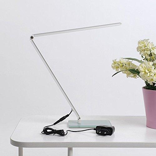 #ELINKUME Hohe Helligkeit 7W 600 Lumen Augenschutz LED Schreibtischleuchte Leselampe Berührungsempfindliche Steuerung Dimmbare Faltbare Gehärtetes Glas Sockel Silber#
