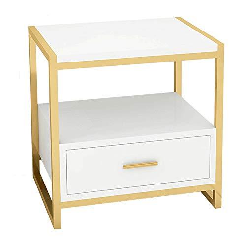 1 Schublade Traditionellen Nachttisch (DFGih Nachttisch/Beistelltisch Lagerturm Mit 1 Schublade Nachttisch Einfache Moderne Schlafzimmer Nachttisch Licht Einfache Lagerung (Color : White))