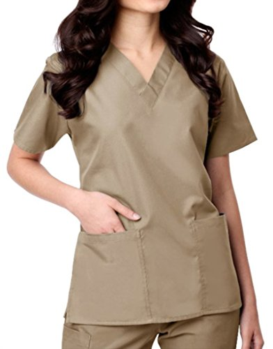 Scrub Top Hose (Maevn Womens V-Neck Two Pocket Scrub Top and Flare Leg Pant Set Khaki Size Large)