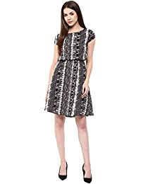 Marie Lucent Women's Polyester Black And White Dress (ML4038D01)