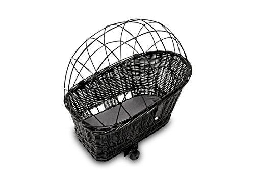 Tigana - Hundefahrradkorb für Gepäckträger aus Weide 56 x 36 cm mit Metallgitter Tierkorb Hinterradkorb Hundekorb für Fahrrad + Kissen in SCHWARZ -