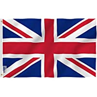 Anley [Fly Breeze 3x5 Foot (90 X 150cm) United Kingdom UK Flag - Vivid Color and UV Fade Resistant - Canvas Header and Double Stitched - British National Flags Polyester with Brass Grommets 3 X 5 Ft