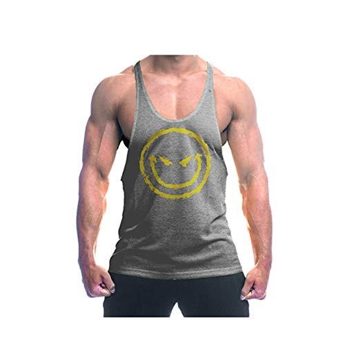 TX Apparel Herren Tanktop Devil Smile Teufel Lächle Gesicht Gym Stringer Fitness Stringer, Grau, XXL