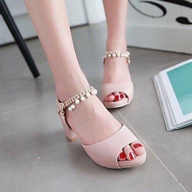 LvYuan Da donna Sandali Finta pelle PU (Poliuretano) Estate Autunno Footing Perle di imitazione Quadrato Beige Blu Rosa 5 - 7 cm beige
