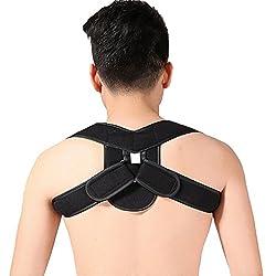 HENGSONG Verstellbar Rückenbandage Rückenhalter Rücken Haltungsbandage Rückenstütze Geradehalter zur Haltungskorrektur für Damen und Herren (Schwarz, M)