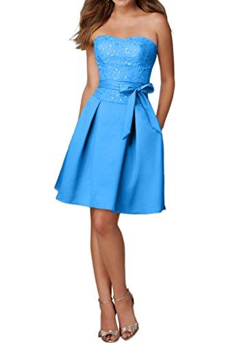 La_Marie Braut Einfach Spitze Satin Traegerlos Cocktailkleider Brautjungfernkleider Kurzes Promkleider Blau