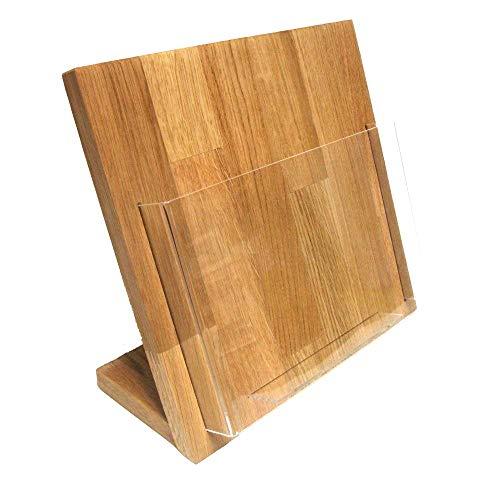 LINLAY Intarsien & Gravuren 22 x 22 cm Tisch Flyerhalter Holz Eiche Prospektständer Flyerständer...