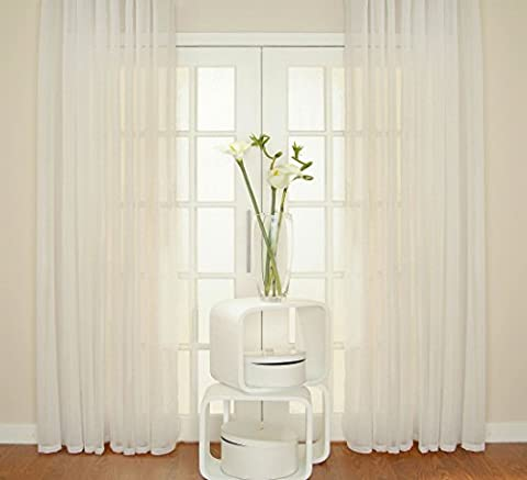 WHITE Voile Curtain Window Panel Opaque Semi Sheer Ideal KITCHEN SITTING BATHROOM BAY Size: 150x180cm/59x71 by Showpiece Curtains and Voiles