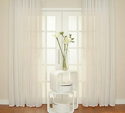WHITE Voile Curtain Window Panel Opaque Semi Sheer Ideal PATIO BI FOLD BAY Size: 300x230cm/118x90