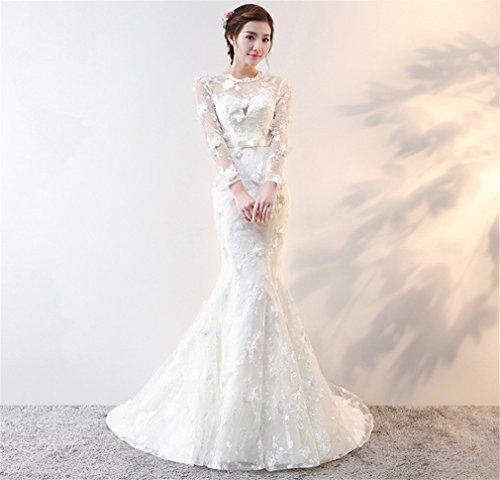 ELEGENCE-Z Brautkleider, Damen Spitze Bestickt Spitze Meerjungfrau Brautkleid,XL