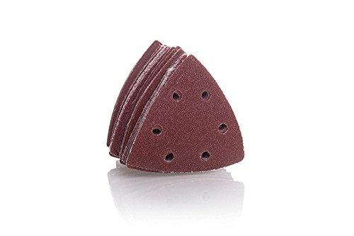 Schleifdreiecke für Delta-Schleifer mit Klettverschluss [93x93x93 mm x 10 Stk] - Körnung je 2 x 40/60/80/120/180 | Schleifpapier Dreieckschleifer
