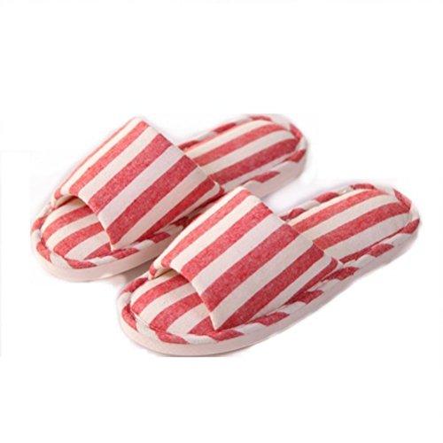 Mhgao Ladies Home interior Leisure Skid Linen pantofola Red