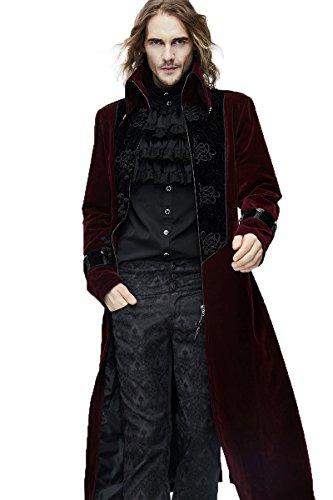 Victorian Vintage Herren Thick Mäntel Gothic Herbst Winter Lange Jacken Steampunk Hoher Kragen Oberbekleidung Für Gentleman (XL, Rot)