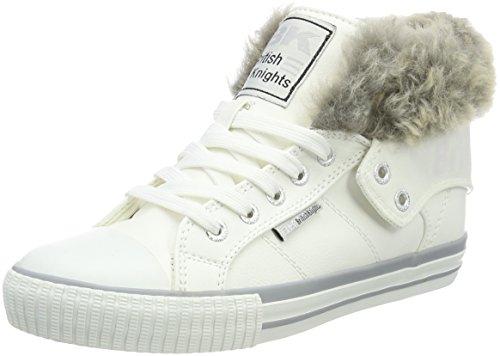 British Knights Roco, Sneaker a Collo Alto Donna Weiß (Fur Fabric White/Grey)