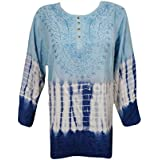Mogul Interior Ladies Blouse Blue Tie-dye Embroidered Rayon Tunic Top Large