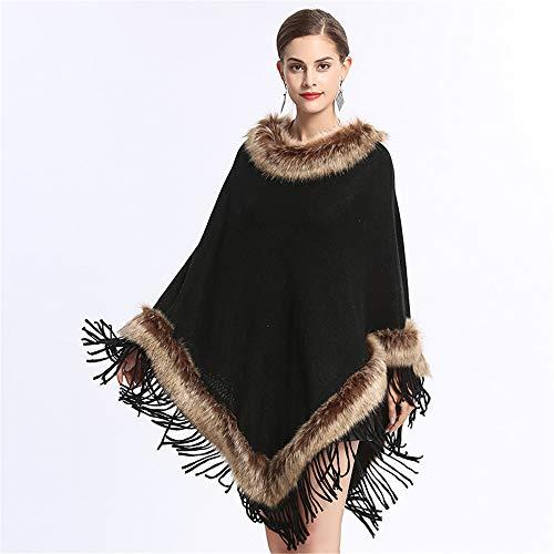 Poncho con scialle con frange da donna, caldo mantello in pelliccia sintetica con mantella e top in voga per donne e ragazze (colore : nero)