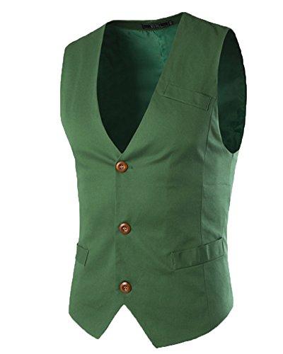 Homme Couleur Unie Col V Élégant Sans Manche Veste Mince Gentilhomme Gilet Costume Vert M
