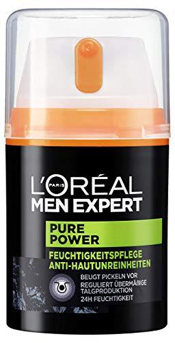 L'Oréal Men Expert Pure Power Feuchtigkeitspflege, Bekämpft Hautunreinheiten wie Mitesser, Akne und Pickel ohne austrocknen porenverfeinernd (50 ml)