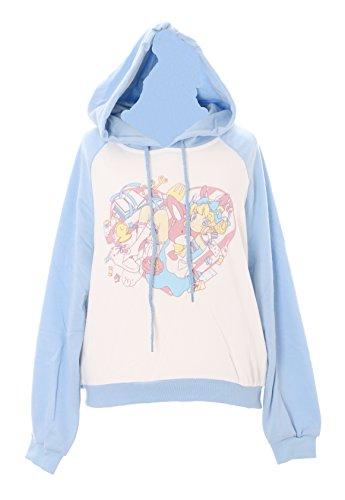 TS-92-2 Hell-Blau Chibi Alice Wonderland Bunny Pastel Goth Lolita Kapuzen-Pullover Sweatshirt Harajuku Kawaii-Story (Bunny Kapuzen-sweatshirt)