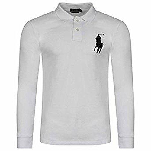 Ralph lauren- camicia a maniche lunghe da uomo con maniche lunghe di pony big ralph lauren (medium, bianco)