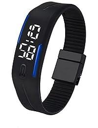 Reloj de pulsera digital y deportivo con fecha, reloj con LED de goma para hombres y mujeres de Fulltime(TM), hombre mujer Infantil, azul