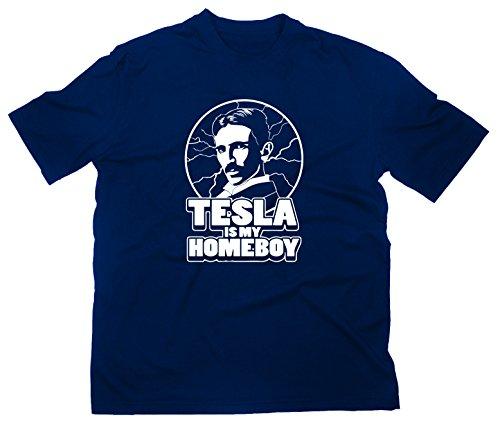 Nikola Tesla Is My Homeboy Fun T-Shirt Funshirt Elektrizität Elektrik Erfinder, L, navy