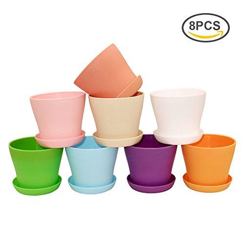 G2PLUS 8 Stück Plastik Blumentopf, 10CM Pflanztöpfe in 8 Farben Perfekt für Home Büro Dekoration