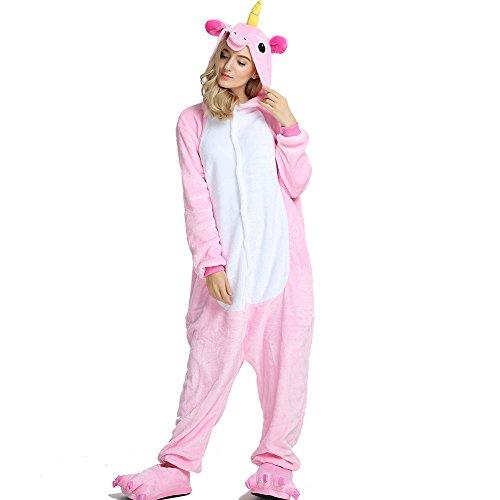 Crazy lin Einhorn Pyjamas Tier Jumpsuit Erwachsene Fasching Kostüm Unisex Sleepsuit Cosplay Nachtwäsche (XL, Rosa)