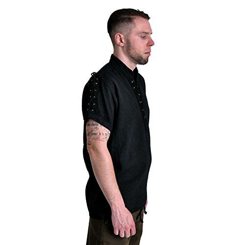 Chemise de pirate médiéval manches courtes cordelette col droit coton noir Noir