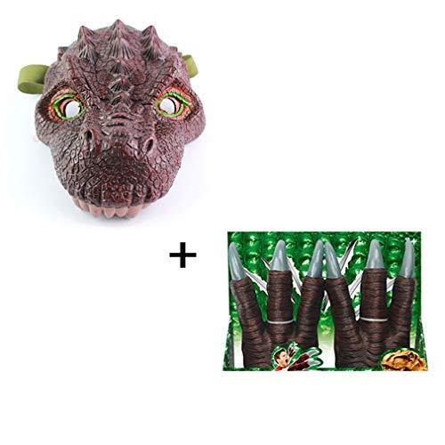 AND Kinder Simulation Dinosaurier Maske Modell Halloween ganze Spielzeug Drachen Tricorn Maske Tier Spielzeug (Kaufen Beängstigend Masken)