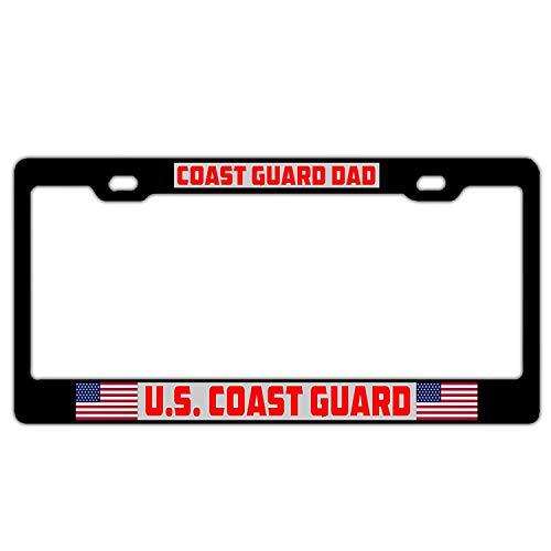 Superlicenseframe Nummernschildrahmen aus Aluminium, personalisierbar, Schwarz, mit Schraubdeckeln für US-Autos, U.s. Coast Guard Dad - Coast Guard License Plate