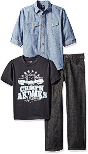 Akademiks Kids Boys' 3pcs Woven Shirts Pant Sets, Blue/Multi, 6 -