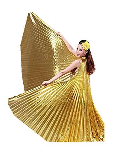 Likecrazy Flügel Schals Party oder Show Bekleidung Zubehör 1 STÜCK Ägypten Bauch Flügel Tanzen Kostüm Bauchtanz Cosplay Weiches Gewebe Bekleidung (Gold,one size)