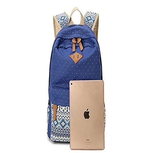 Fashion Dot Casual Leinwand Cute leicht Rucksäcke für Teen Mädchen marineblau