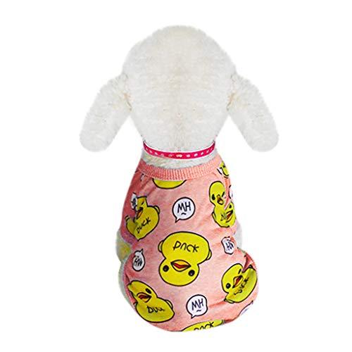 Mädchen Duck Kostüm Kleines - Pet Sleeveless T-Shirt Hundewelpen-Kleidung T-Shirt mit Big Mouth Duck Pattern Haustiere Kostüm niedliche Welpen-Weste-Hundehemd weiches Sweatshirt-Kostüm für kleine Hunde (S, Pink)