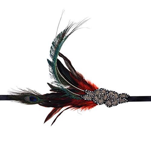 Charmstep Damen 1920s Gatsby Stirnband Kostüm Accessoires 20er Jahre Flapper Feder Haarband,Red,OneSize (Red Fashion Flapper Kostüm)