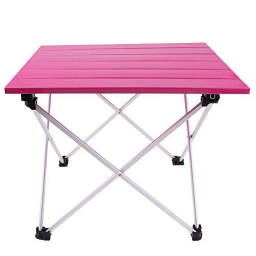 P Prettyia Outdoor Picknick Universaltisch Falttisch Gartentisch aus Aluminiumlegierung - Rosa 39,5x35x32cm