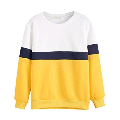 Felpa Donna con cappuccio , feiXIANG Donna moda manica lunga miscela del cotone Felpa con cappuccio maglione pullover top camicetta,S~XL Giallo#